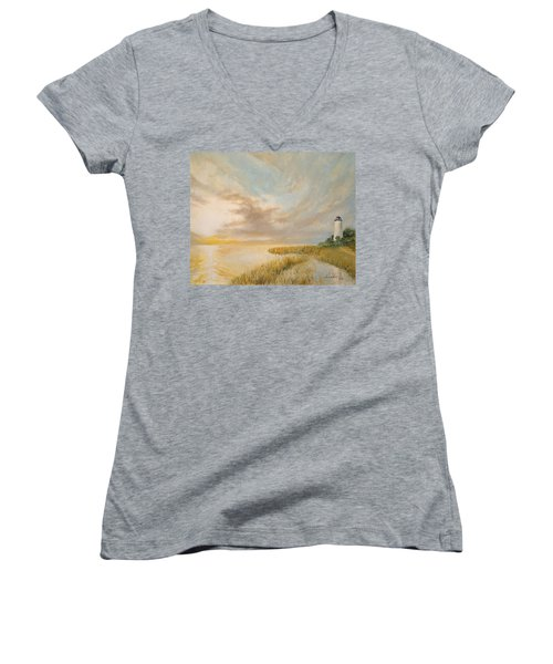 St Marks Lighthouse Women's V-Neck T-Shirt (Junior Cut) by Alan Lakin