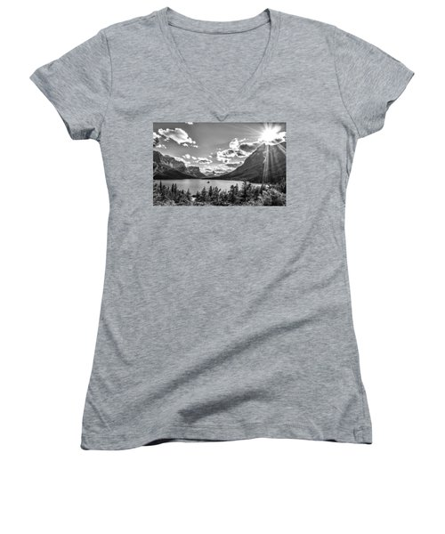 St. Mary Lake Bw Women's V-Neck T-Shirt (Junior Cut) by Aaron Aldrich