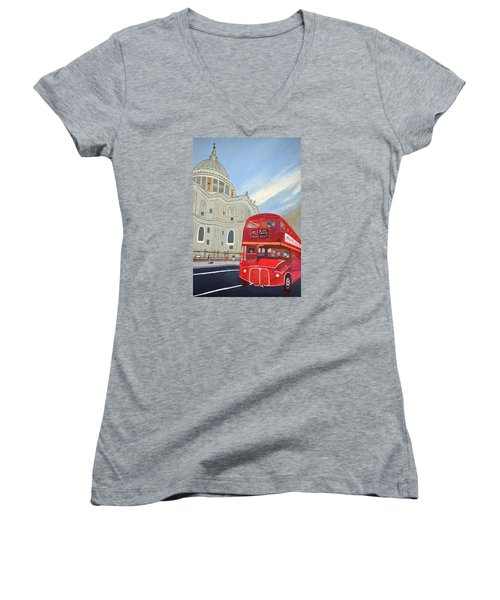 Women's V-Neck T-Shirt (Junior Cut) featuring the painting St. Paul Cathedral And London Bus by Magdalena Frohnsdorff