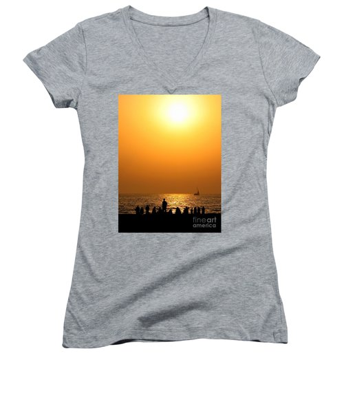Women's V-Neck T-Shirt (Junior Cut) featuring the photograph St. Petersburg Sunset by Peggy Hughes