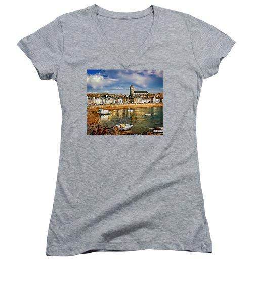 Women's V-Neck T-Shirt (Junior Cut) featuring the photograph Saint Servan Anse by Elf Evans