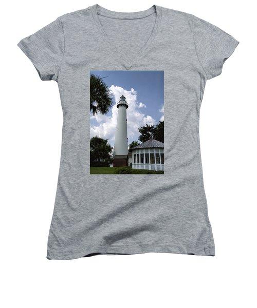 St. Simon's Island Georgia Lighthouse Women's V-Neck (Athletic Fit)