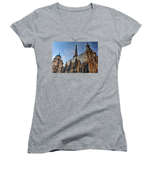 Women's V-Neck T-Shirt (Junior Cut) featuring the photograph St. Stephen's Cathedral by Joe  Ng