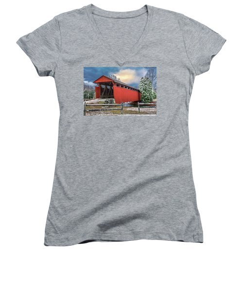 Staats Mill Covered Bridge Women's V-Neck T-Shirt (Junior Cut) by Mary Almond