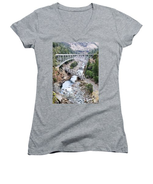 Stacked Bridges Women's V-Neck T-Shirt (Junior Cut) by Holly Blunkall