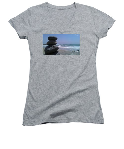 Women's V-Neck T-Shirt (Junior Cut) featuring the photograph Stacked Rocks by Chris Tarpening