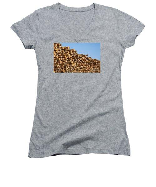 Stacks Of Logs Women's V-Neck