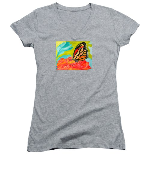 Stained Glass Flutters Women's V-Neck T-Shirt (Junior Cut) by Meryl Goudey