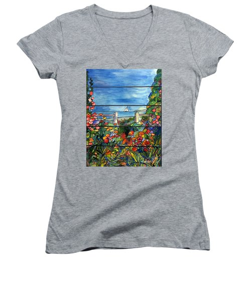 Stained Glass Tiffany Landscape Window With Sailboat Women's V-Neck T-Shirt (Junior Cut) by Donna Walsh
