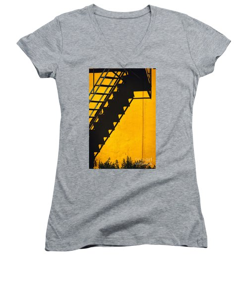 Women's V-Neck T-Shirt (Junior Cut) featuring the photograph Staircase Shadow by Silvia Ganora