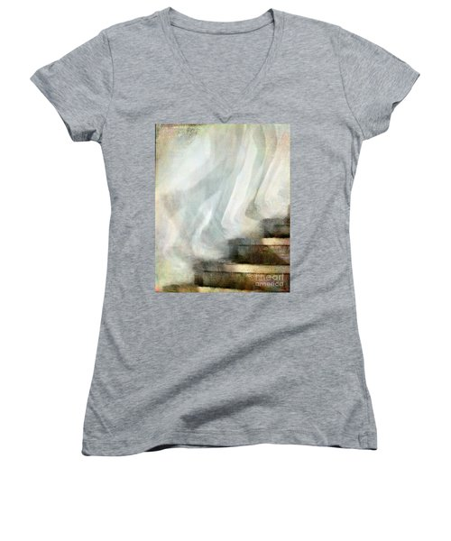 Left Behind Women's V-Neck T-Shirt (Junior Cut) by Jennie Breeze