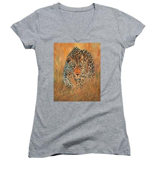 Stalking Leopard Women's V-Neck