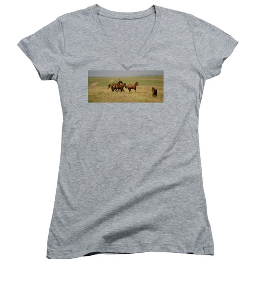 Women's V-Neck T-Shirt (Junior Cut) featuring the photograph Stances by Rima Biswas