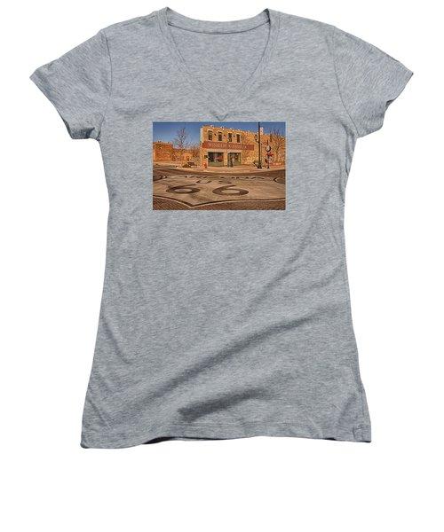Standin' On The Corner Park Women's V-Neck T-Shirt (Junior Cut) by Priscilla Burgers