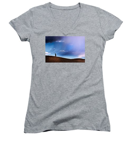 Standing Against The Wind Women's V-Neck (Athletic Fit)