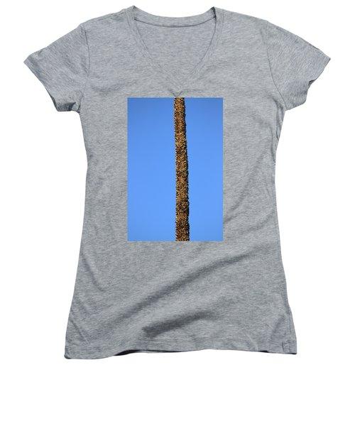 Women's V-Neck T-Shirt (Junior Cut) featuring the photograph Standing Alone by Miroslava Jurcik