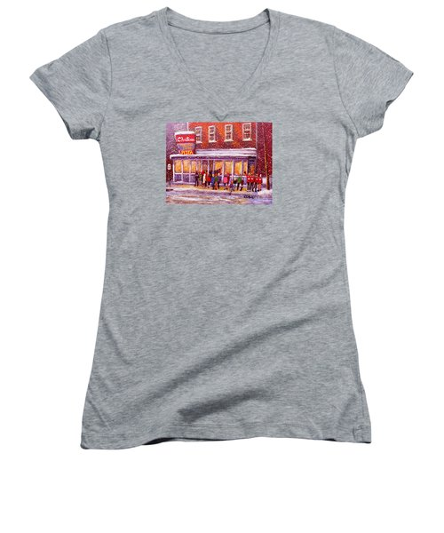 Standing In Line At The Chateau Women's V-Neck T-Shirt