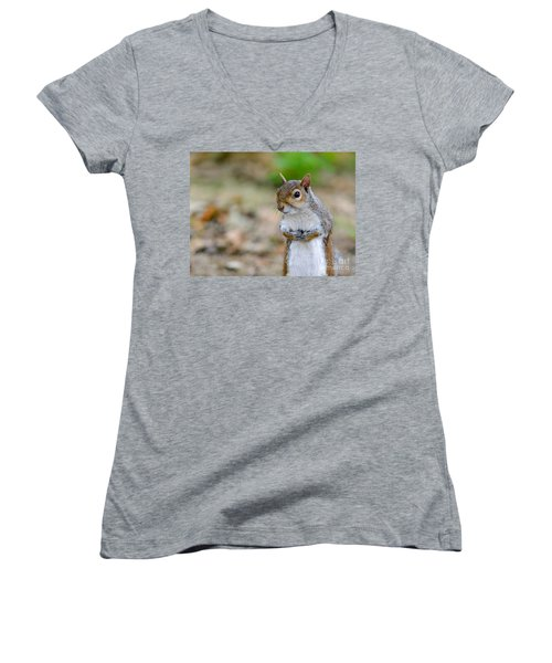Standing Squirrel Women's V-Neck (Athletic Fit)