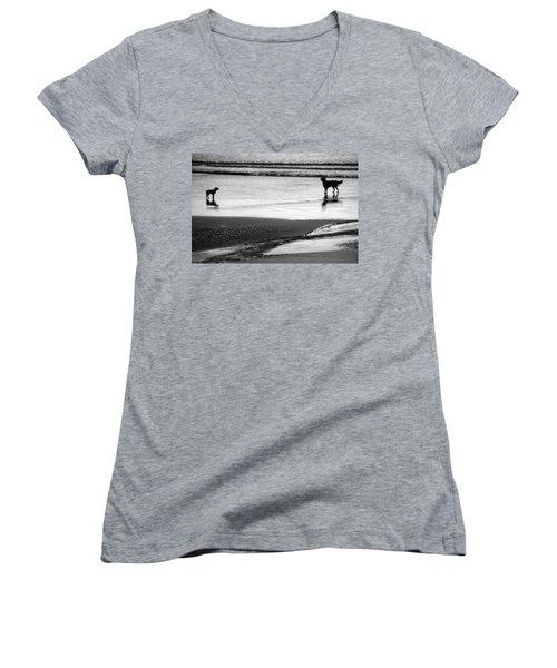 Standoff At The Beach Women's V-Neck T-Shirt (Junior Cut) by Aidan Moran