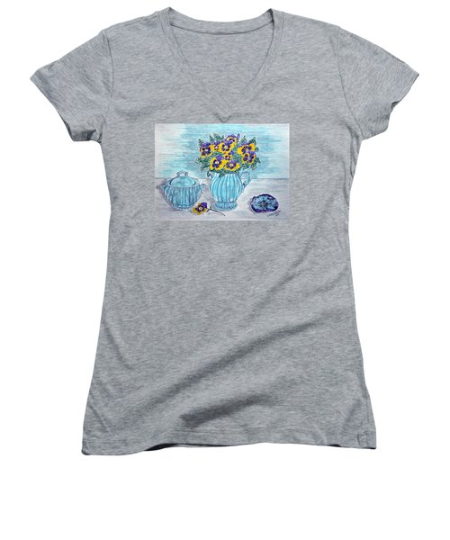 Women's V-Neck T-Shirt (Junior Cut) featuring the painting Stangl Pottery And Pansies by Kathy Marrs Chandler