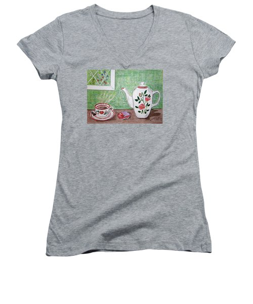Women's V-Neck T-Shirt (Junior Cut) featuring the painting Stangl Pottery Rose Pattern by Kathy Marrs Chandler