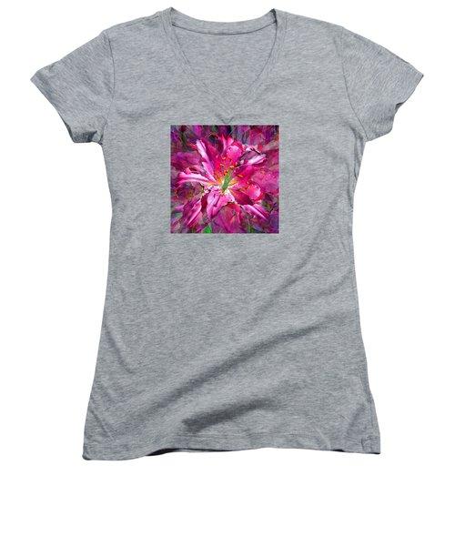 Star Gazing Stargazer Lily Women's V-Neck T-Shirt (Junior Cut) by Michele Avanti