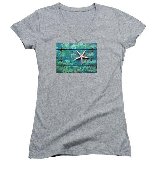 Seashore Peeling Paint - Starfish And Turquoise Women's V-Neck T-Shirt (Junior Cut) by Rebecca Korpita