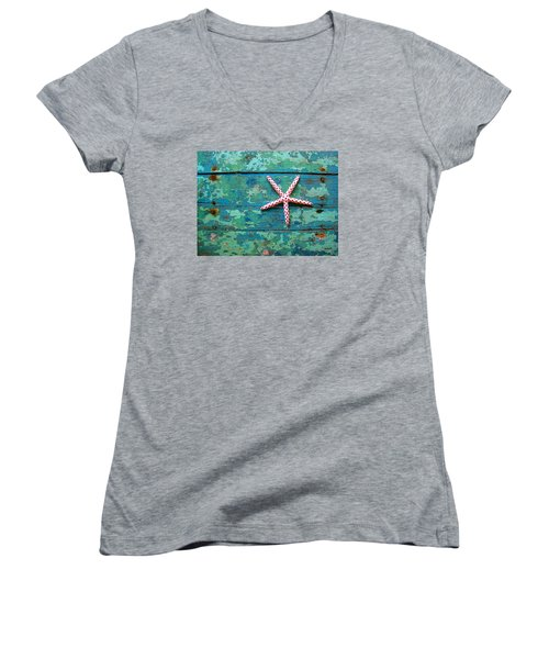 Seashore Peeling Paint - Starfish And Turquoise Women's V-Neck (Athletic Fit)
