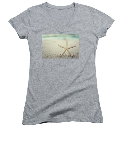 Starfish On Beach Vintage Seaside New Jersey  Women's V-Neck (Athletic Fit)