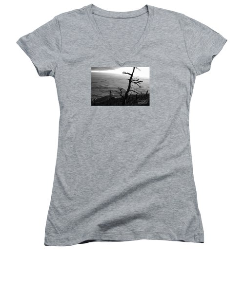 Women's V-Neck T-Shirt (Junior Cut) featuring the photograph Stark Tree by Mary Carol Story