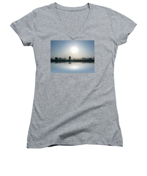 Starlings Misty Morning Women's V-Neck T-Shirt (Junior Cut) by Cedric Hampton