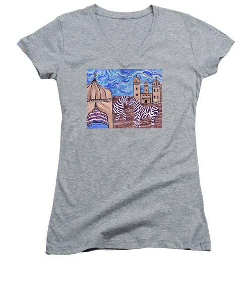 Women's V-Neck featuring the painting Stars And Stripes by Barbara St Jean