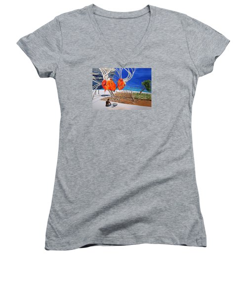 State Of Emotion The Pulse Let It Work... Women's V-Neck T-Shirt (Junior Cut) by Lazaro Hurtado