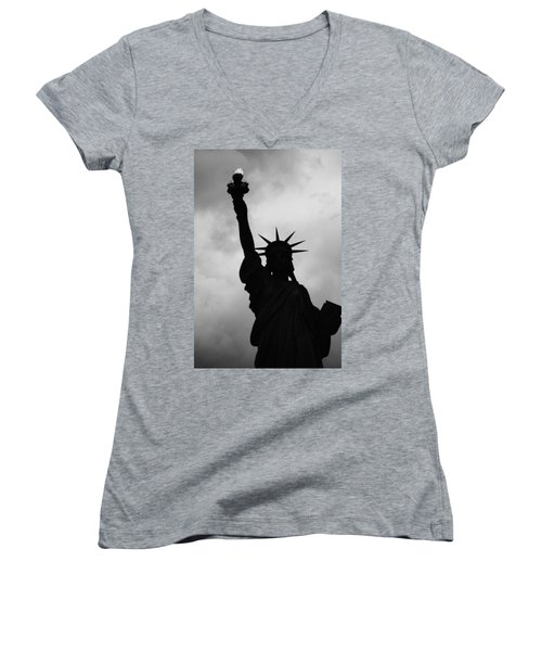 Statue Of Liberty Silhouette Women's V-Neck