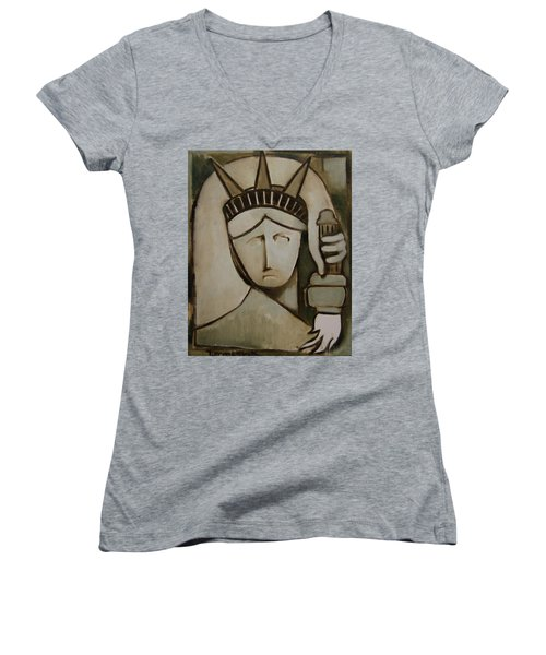 Tommervik Abstract Statue Of Liberty Art Print Women's V-Neck (Athletic Fit)