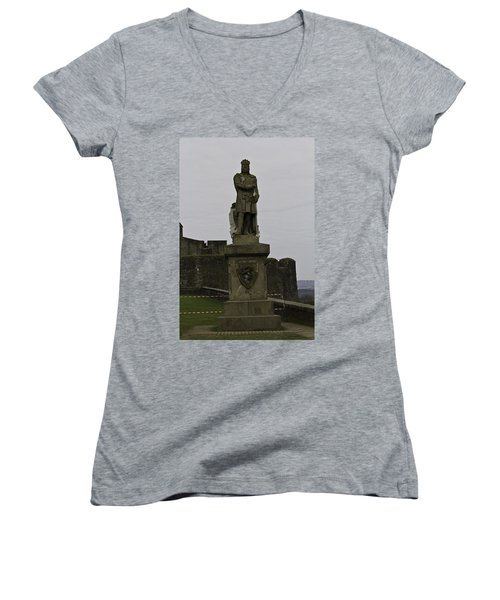 Statue Of Robert The Bruce On The Castle Esplanade At Stirling Castle Women's V-Neck T-Shirt (Junior Cut)