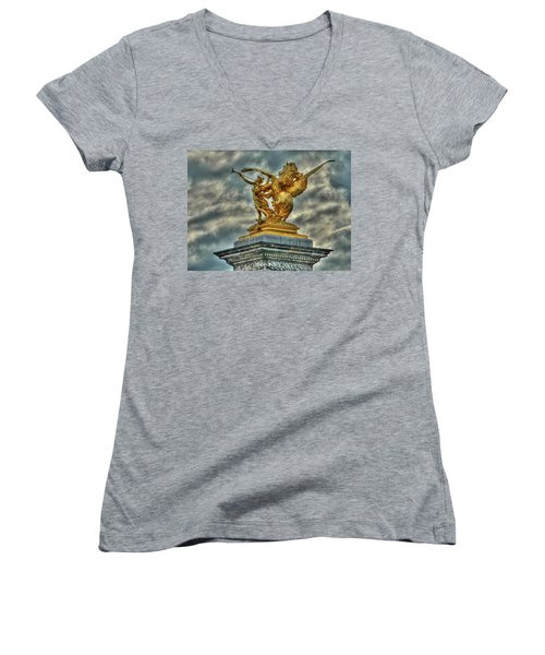 Statue On Pont Alexandre IIi Women's V-Neck (Athletic Fit)