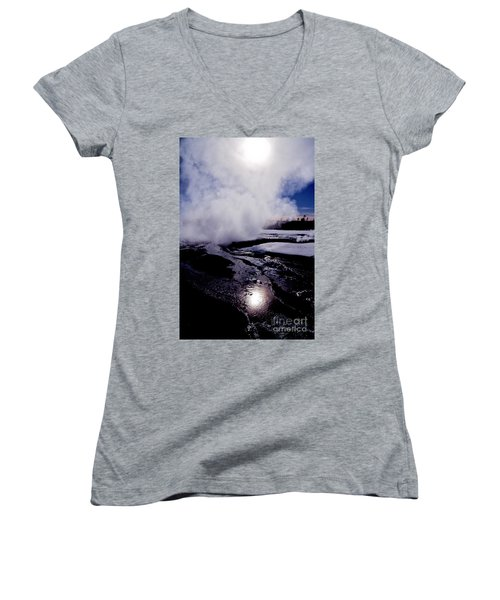 Women's V-Neck T-Shirt (Junior Cut) featuring the photograph Steam by Sharon Elliott