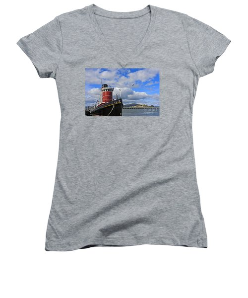 Women's V-Neck T-Shirt (Junior Cut) featuring the photograph Steam Tug Hercules by Kate Brown