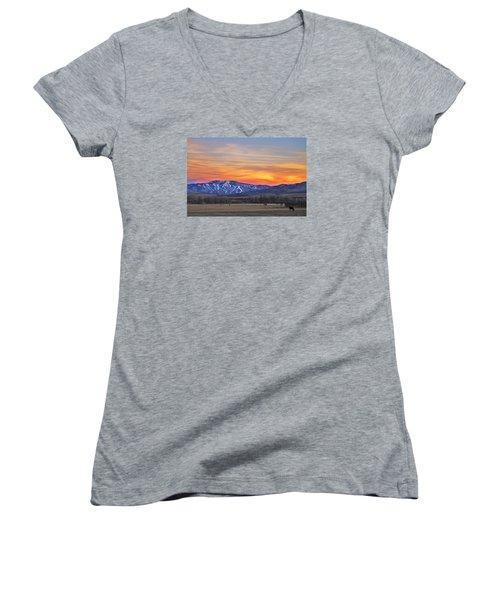 Steamboat Alpenglow Women's V-Neck T-Shirt (Junior Cut) by Matt Helm