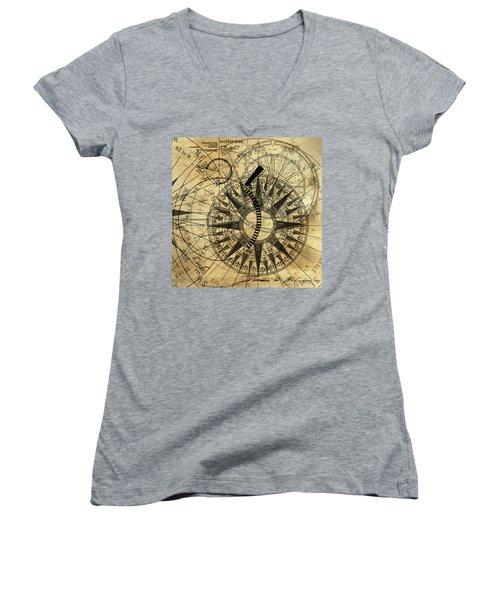 Steampunk Gold Compass Women's V-Neck