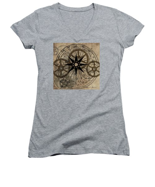 Steampunk Gold Gears II  Women's V-Neck T-Shirt (Junior Cut)