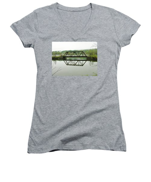 Women's V-Neck T-Shirt (Junior Cut) featuring the photograph Vermont Steel Railroad Trestle On A Calm  Misty Morning by Sherman Perry