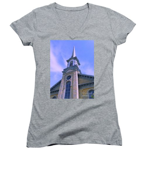 Women's V-Neck T-Shirt (Junior Cut) featuring the photograph Steeple Church Arch Windows  1 by Becky Lupe