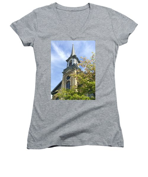 Women's V-Neck T-Shirt (Junior Cut) featuring the photograph Steeple Church Arch Windows by Becky Lupe