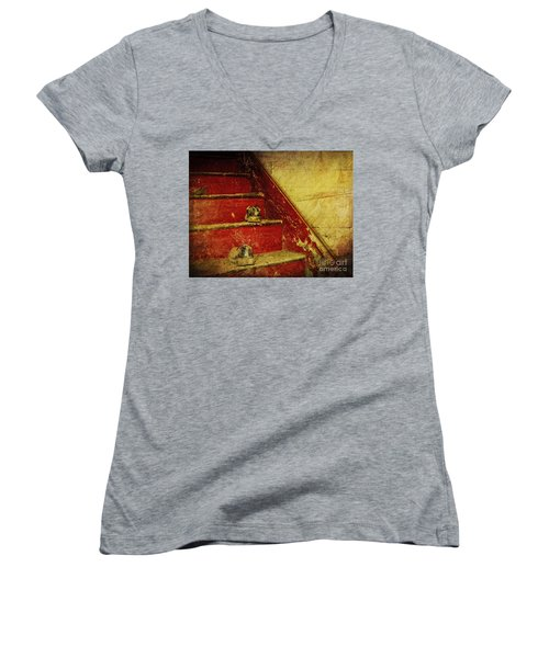 Women's V-Neck T-Shirt (Junior Cut) featuring the photograph Step Back In Time by Debra Fedchin