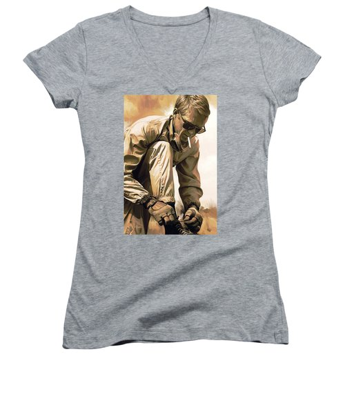 Steve Mcqueen Artwork Women's V-Neck T-Shirt