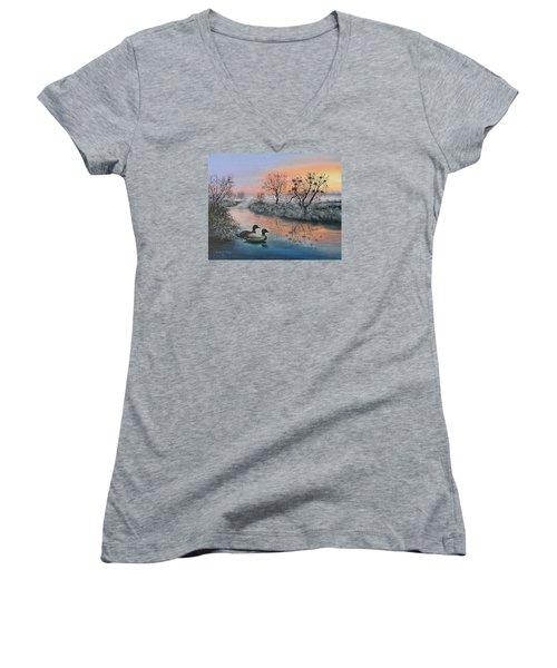 Still Beauty Women's V-Neck T-Shirt (Junior Cut) by Vesna Martinjak