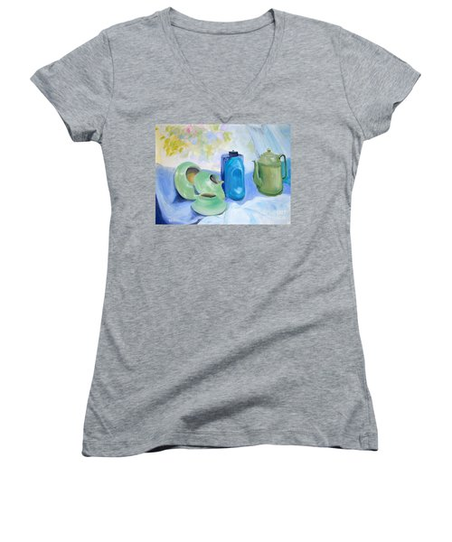 Women's V-Neck T-Shirt (Junior Cut) featuring the painting Still Life In Blue And Green Pottery by Greta Corens