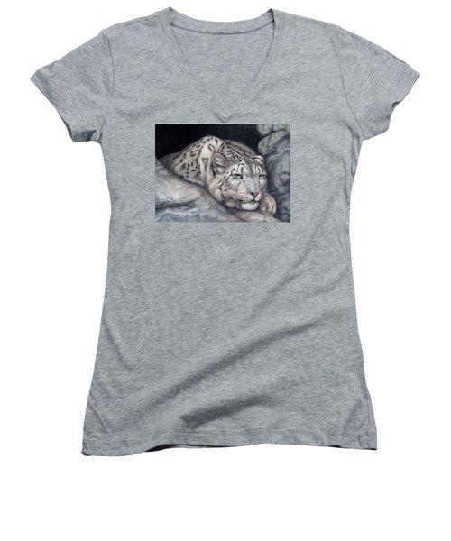 Women's V-Neck T-Shirt (Junior Cut) featuring the painting Stillnes Like A Stone by Pat Erickson